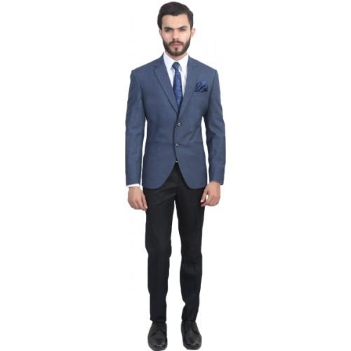 ManQ Blue Solid Single Breasted Formal Men's Blazer
