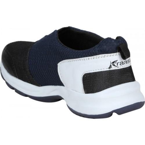 Kraasa Navy Blue & Black Slip On Running Shoes For Men