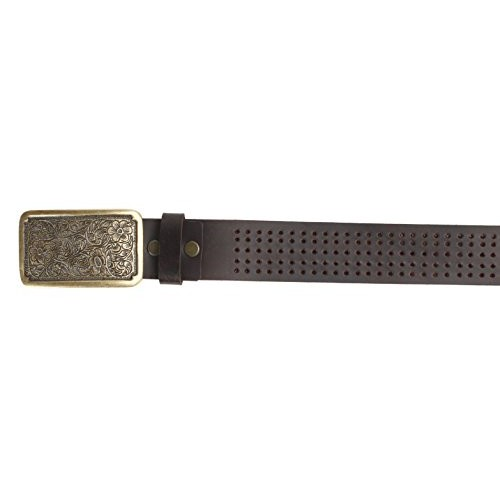 Vintage Brown Brass Buckle Casual Leather Mens Belt