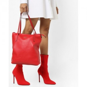 Lavie Red Synthetic Tote Bag with Metallic Branding