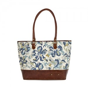 1ffafb8747d1 Kantha Handcrafted Leather and Canvas Floral Art Printed Women Tote Handbag