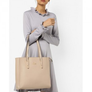 Lavie Beige Synthetic Tote Bag with Signature Branding