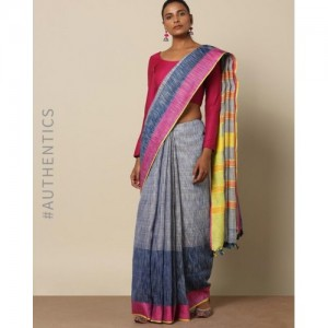 Indie Picks Pure Linen Bijli Handloom Saree