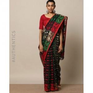 Indie Picks Handloom Bengal Tangail Jamdani Design Saree