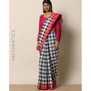 Indie Picks Handloom Bengal Begampuri Checked Cotton saree