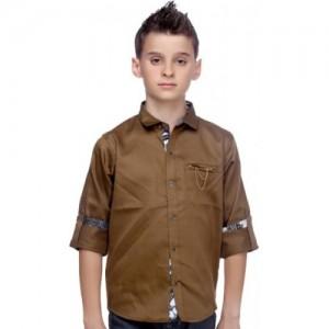 Mash Up Boys Solid Casual Linen Beige Shirt