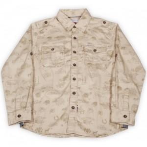 US Polo Kids Boys Printed Casual Beige Shirt