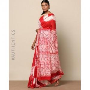 Indie Picks Shibori Tie Dye Chanderi Saree with Zari
