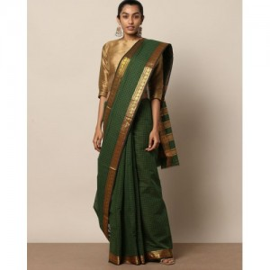 Indie Picks South Cotton Checked Saree with Zari Work