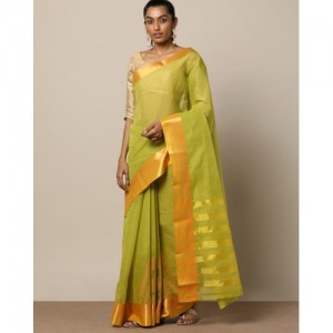 Indie Picks South Cotton Saree with Zari Embroidery