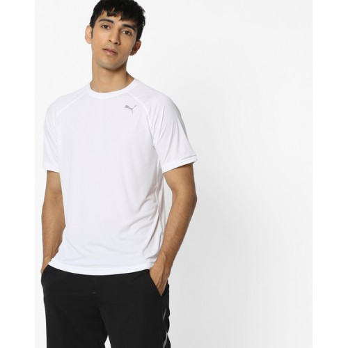 cb02345be42 Buy Puma White Polyester Crew-Neck T-shirt online | Looksgud.in