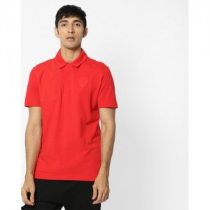 Puma Red Cotton Solid Ferrari Embossed Polo T-shirt