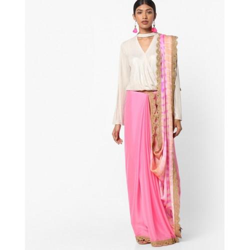 1001e96bb05 Buy Vastrangi Shibori Print Half n Half Saree online