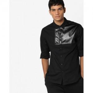 AJIO Slim Fit Shirt with PU Panels