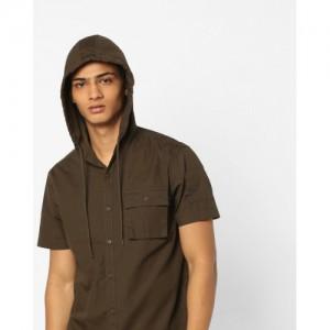 AJIO Slim Fit Hooded Cotton Shirt