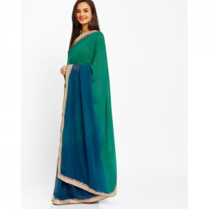 Florence Blue Chiffon Ombre-Dyed Saree