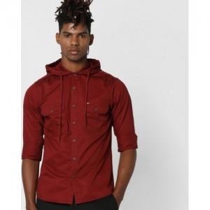 AJIO Hooded Slim Fit Shirt