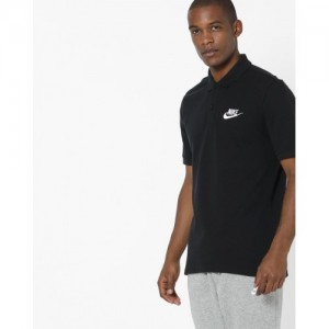 NIKE Black Cotton Solid Polo T-shirt