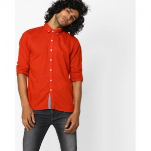 FLYING MACHINE Slim Fit Shirt with Button-Down Collar