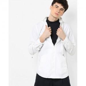 AJIO Zip-Front Hooded Shacket