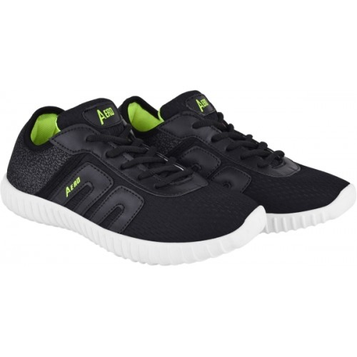 Aero Black Canvas Running Shoes For Men