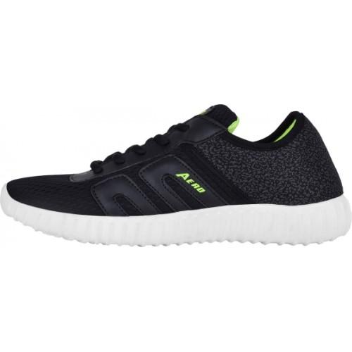 Aero Black Canvas Running Shoes For Men