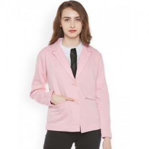 Miss Grace Pink Cotton Casual Blazer