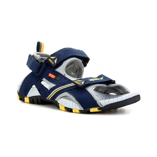 Sparx Blue Synthetic Leather Velcro Sandals