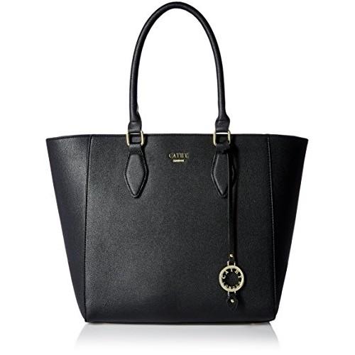 Cathy London Black Polyurethane Solid Handbag