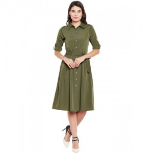 WISSTLER Olive Green Solid Shirt Dress