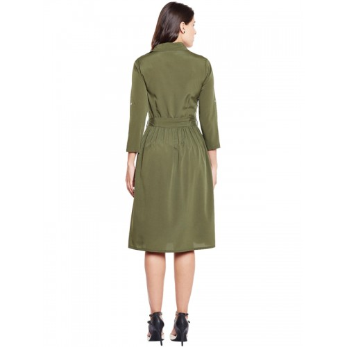WISSTLER Olive Green Solid Shirt Dress