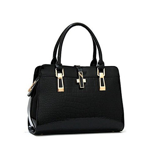 Vezela Black PU leather Top Handle Satchel Hand Bag