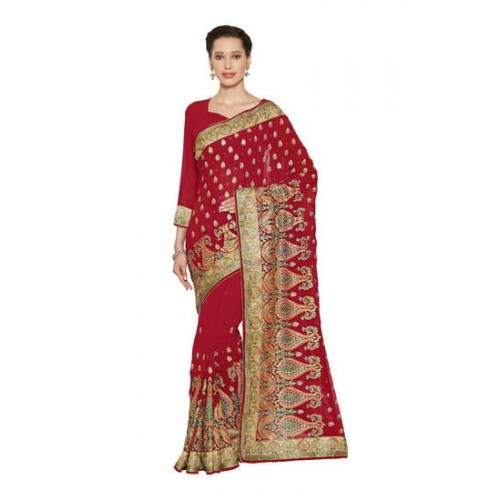 72b2ca33b3 Buy Kala Laya Enticing Red Faux Georgette Party Wear Saree online ...