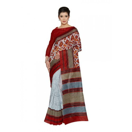 546db918b Buy Kala Laya Ravishing Light Grey N Red Bhagalpuri Party Wear Saree online