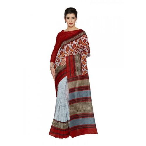 546db918b Buy Kala Laya Ravishing Light Grey N Red Bhagalpuri Party Wear Saree online