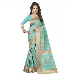 Kala Laya Aqua Blue & Beige Kanjivaram Silk Saree