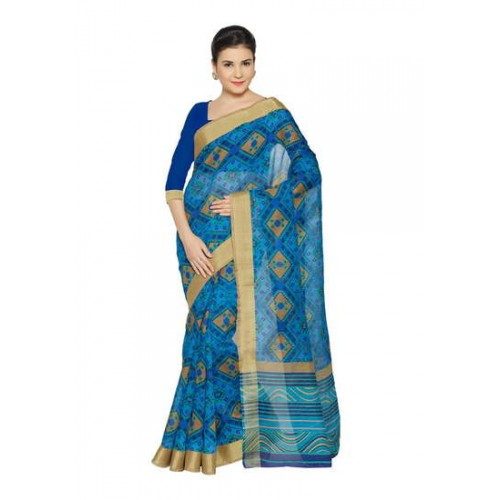 114fad3e1 Buy Kala Laya Blue Bhagalpuri Printed Saree online