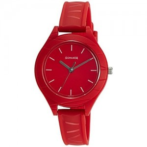 Sonata Color Pop Analog Red Dial Girls Watch-87023PP01
