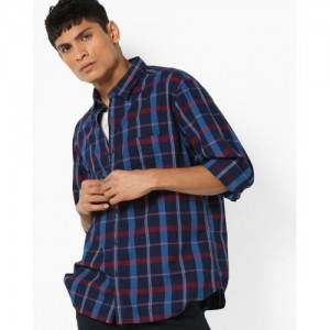 JOHN PLAYERS Checked Trim Fit Shirt with Patch Pocket