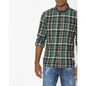 FLYING MACHINE Checked Shirt with Buttoned Pocket