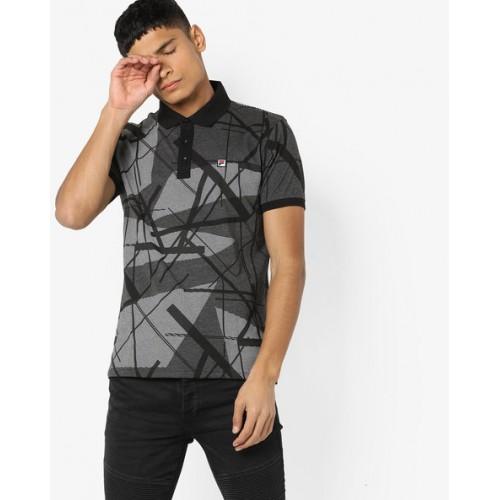 FILA Abstract Print Polo-Neck T-shirt