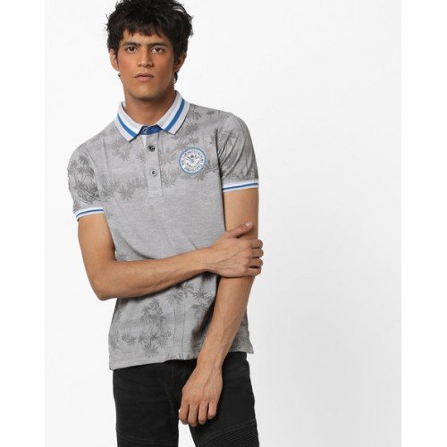DUKE Tropical Print Slim Polo T-shirt