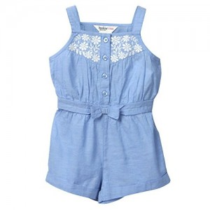 Beebay Infant-girl Chambray Bow Jumpsuit (Light Blue)