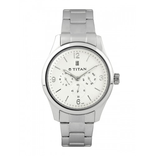 Titan Men Silver-Toned Dial Chronograph Watch 9493SM01J
