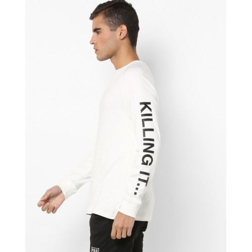 Levis Off White Solid Round Neck T-Shirt
