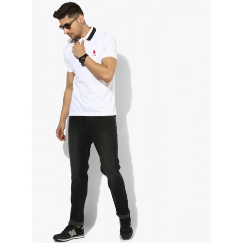 U.S. Polo Assn. White Solid Regular Fit Polo T-Shirt