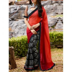 Shaily Red Georgette Printed Saree