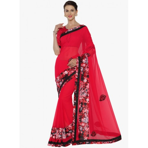 Indian Women By Bahubali red georgette embroidered saree with blouse