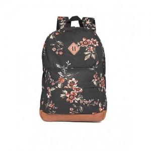 Aeropostale Black Cotton Floral Printed Backpack