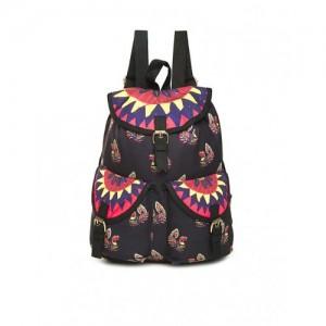 Bronz Black Printed Canvas Backpack